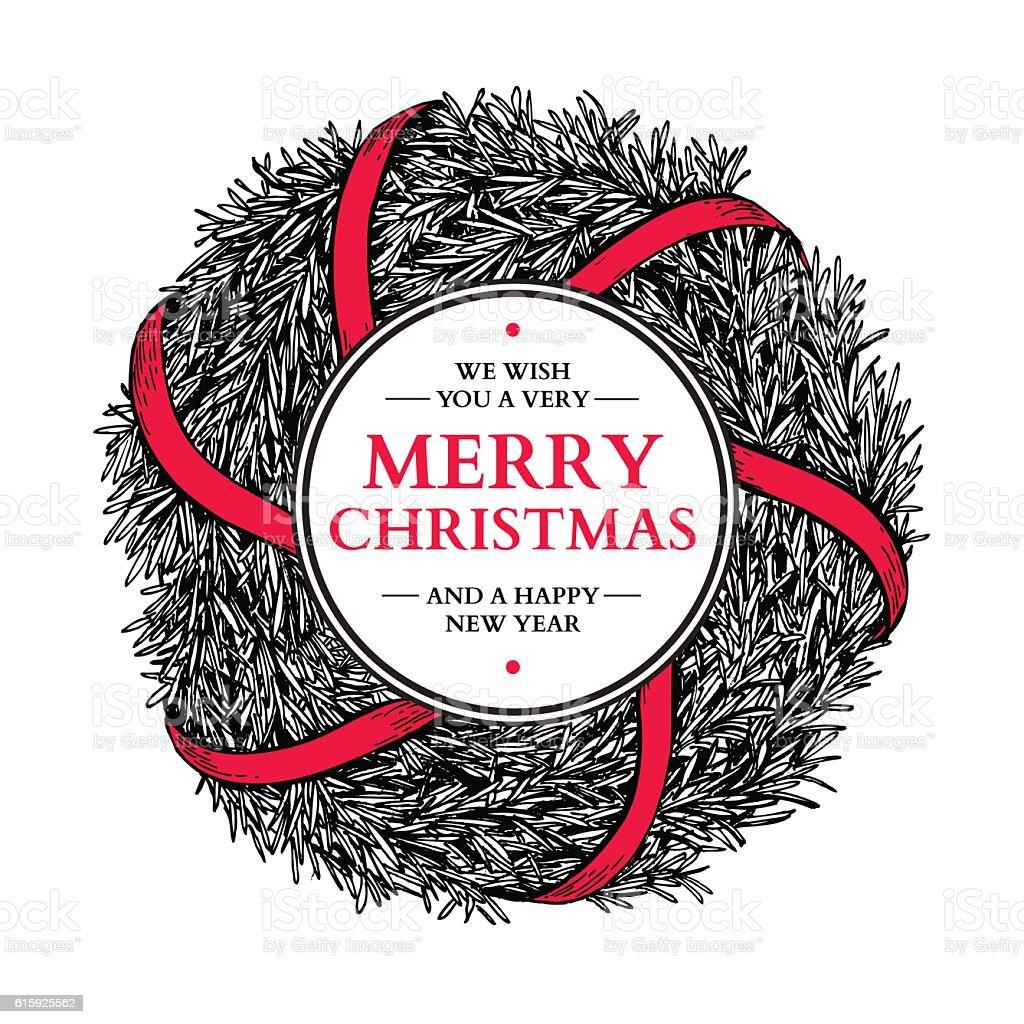 Christmas wreath. Vector hand drawn illustration with fir tree b vector art illustration