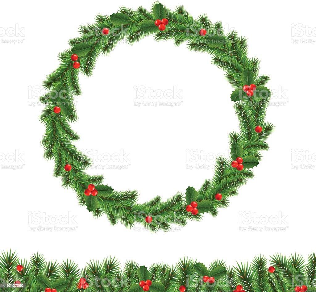 Christmas Wreath vector art illustration