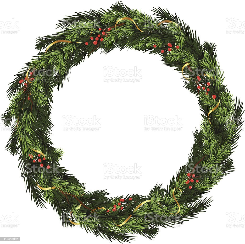 Christmas wreath with gold ribbon and red berries on white royalty-free stock vector art