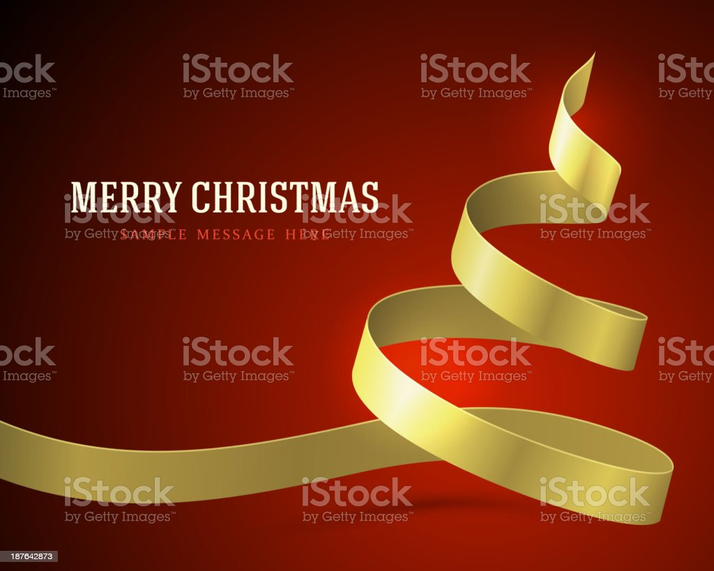 Christmas yellow tree from ribbon background royalty-free stock vector art
