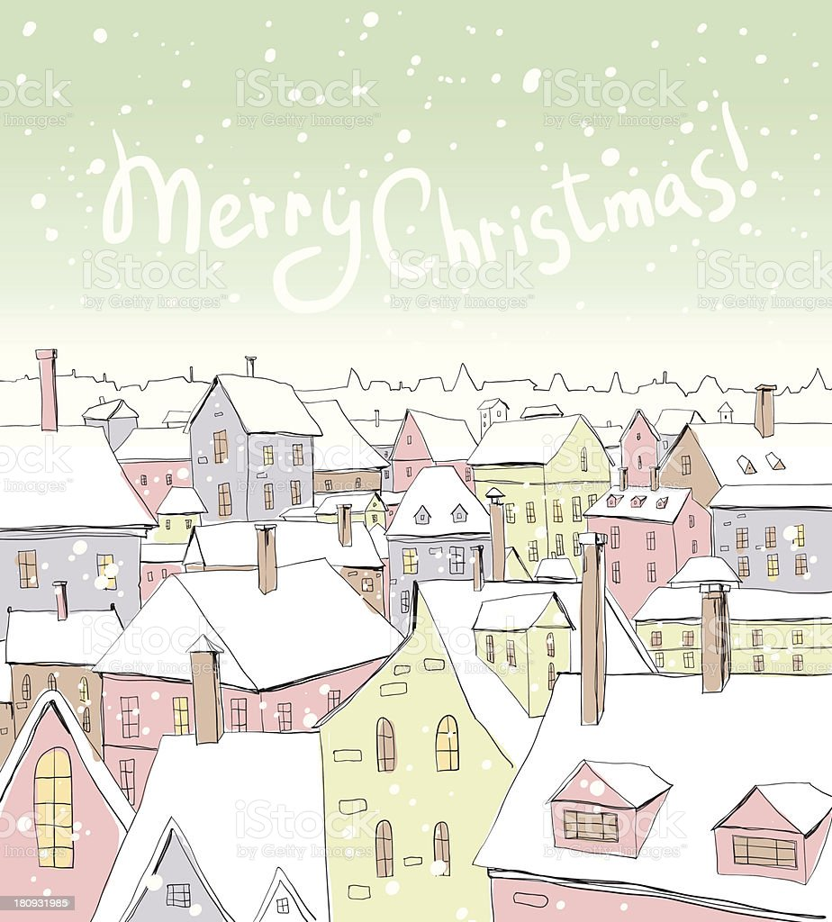 Christmas/New Year illustration with houses royalty-free stock vector art