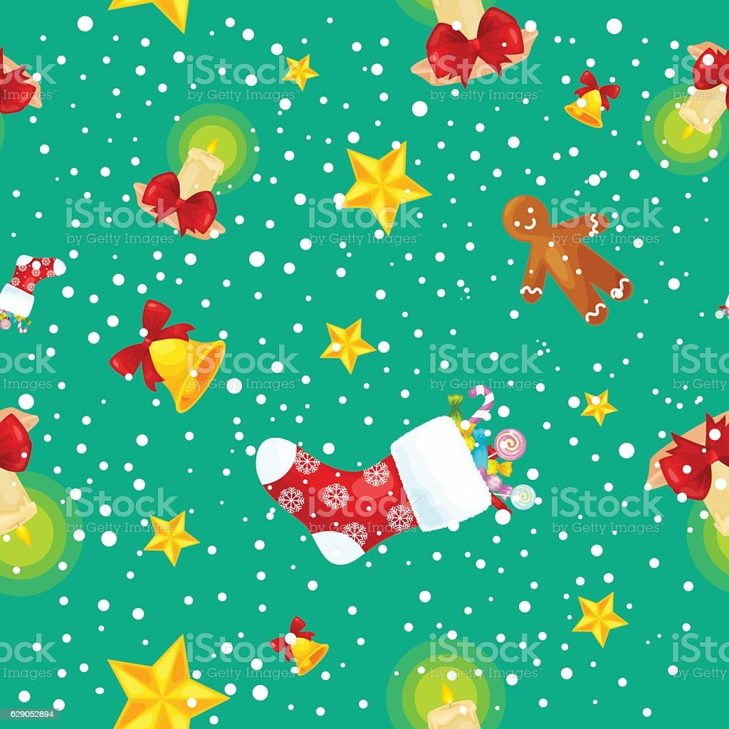 Christmass seamless pattern gingerbread man cookies, jingle bells stocking gifts vector art illustration