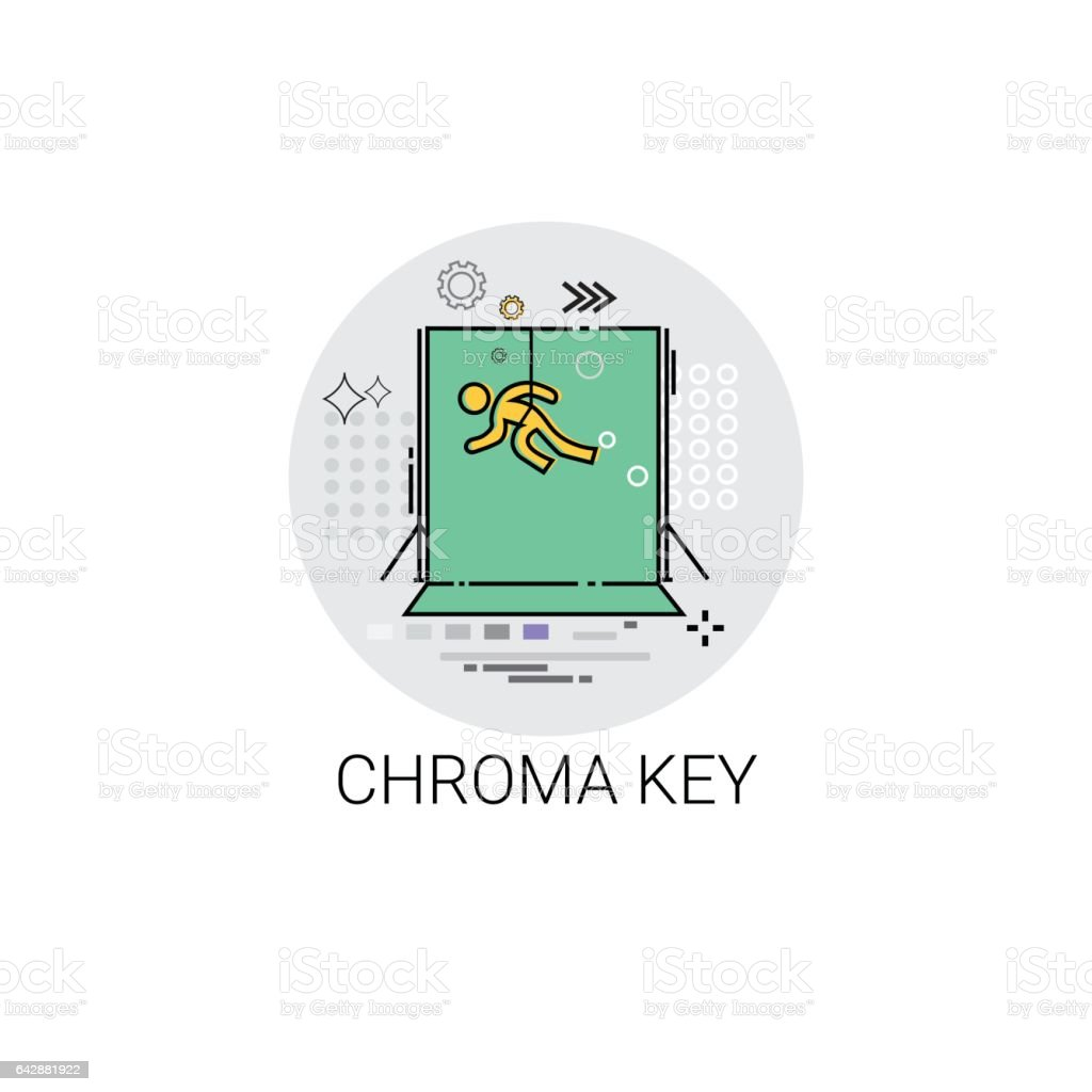 Chroma Key Green Background Film Production Technology Icon vector art illustration