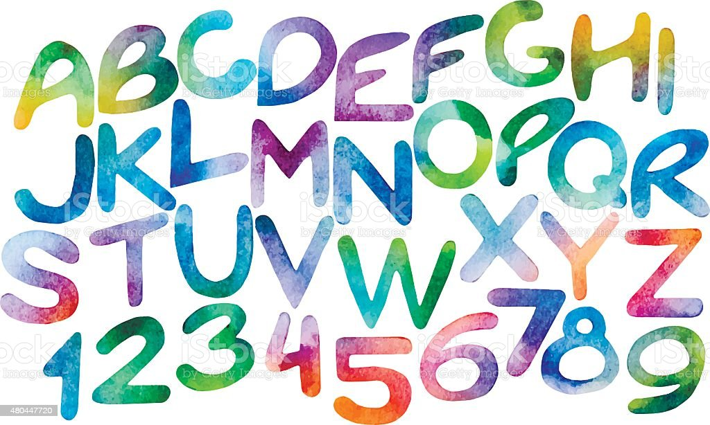 Chromatic watercolor letters and numerals vector art illustration