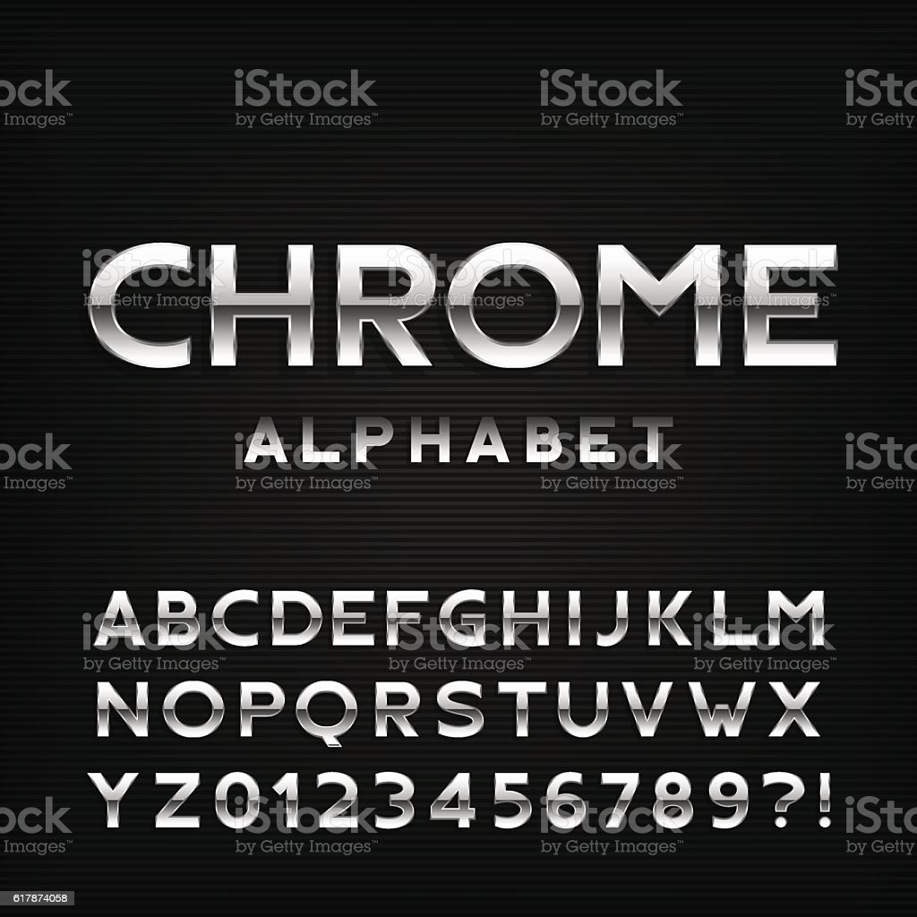 Chrome alphabet font. Metal effect letters and numbers. vector art illustration