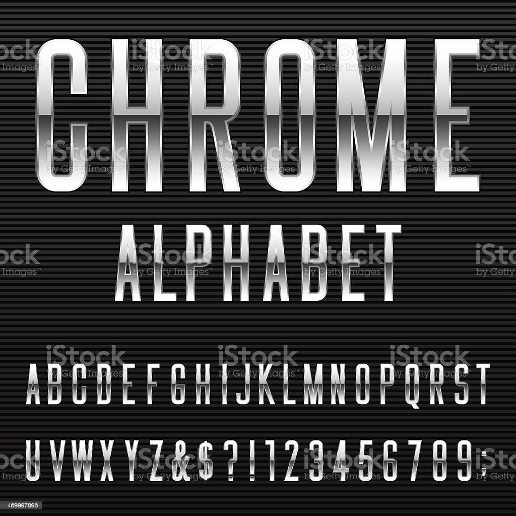Chrome Alphabet Vector Font vector art illustration