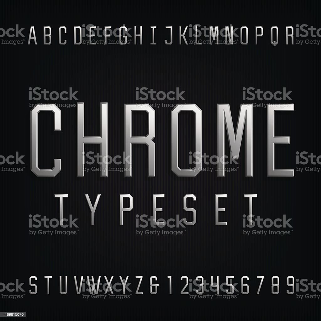 Chrome Alphabet Vector Font. vector art illustration