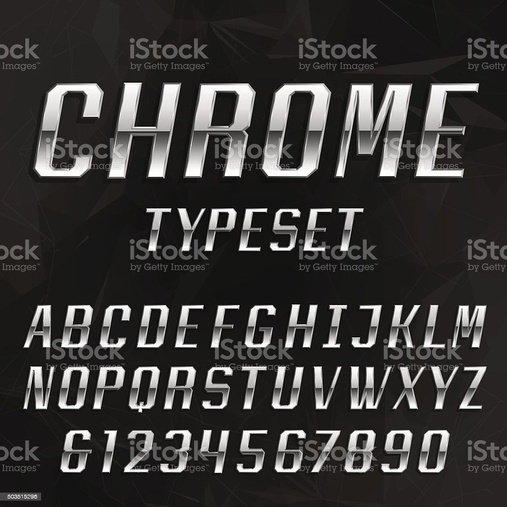 Chrome Alphabet Vector Typeface. vector art illustration