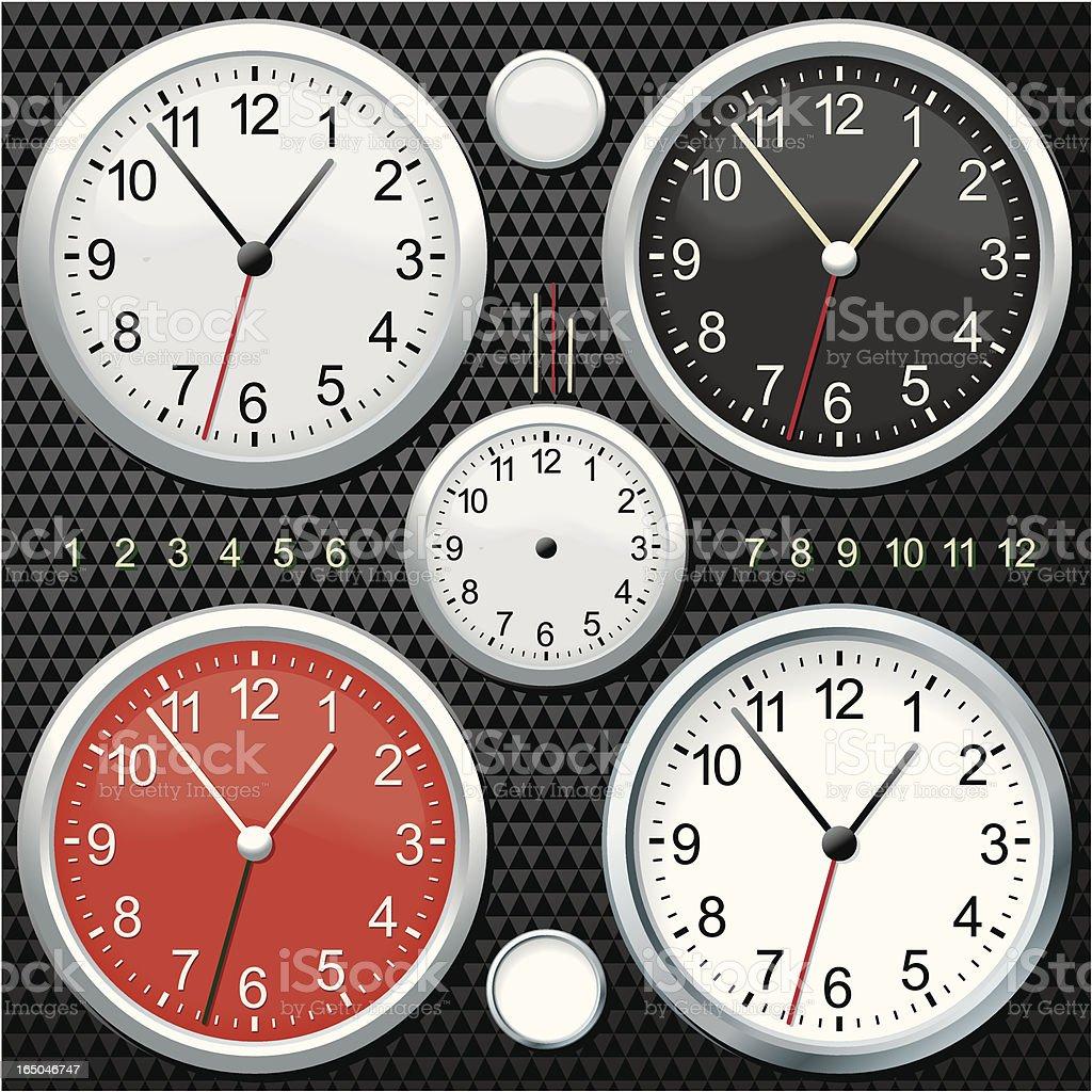 Chrome Clocks-Black royalty-free stock vector art