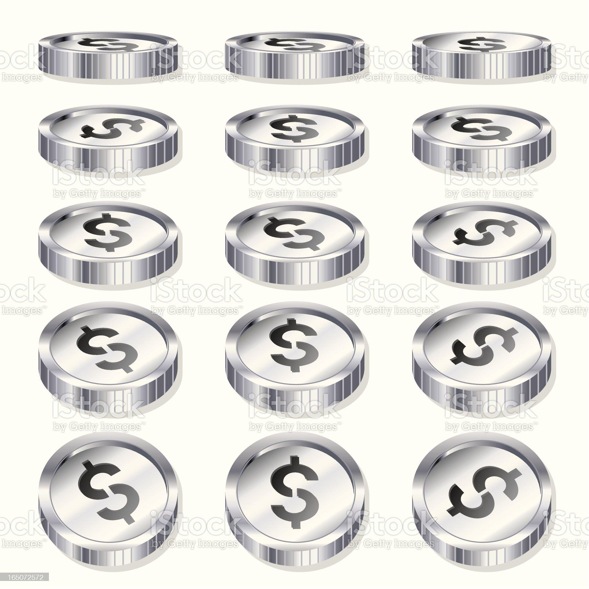 Chrome Coins -Tokens royalty-free stock vector art