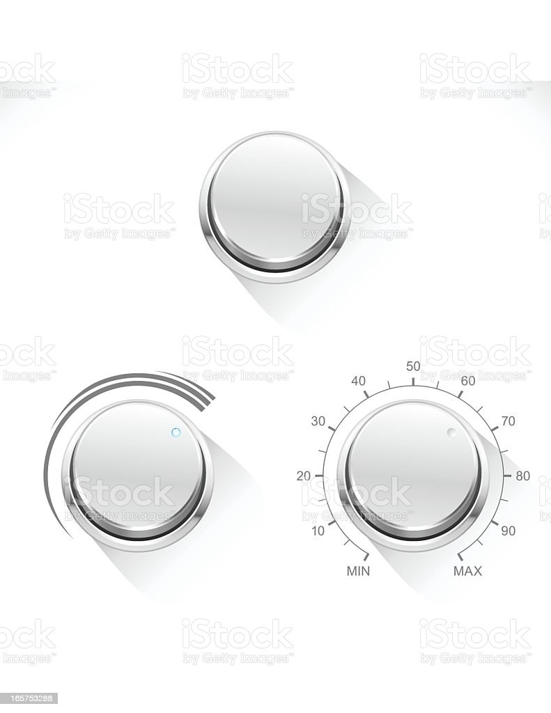 Chrome Control Knob 2 vector art illustration