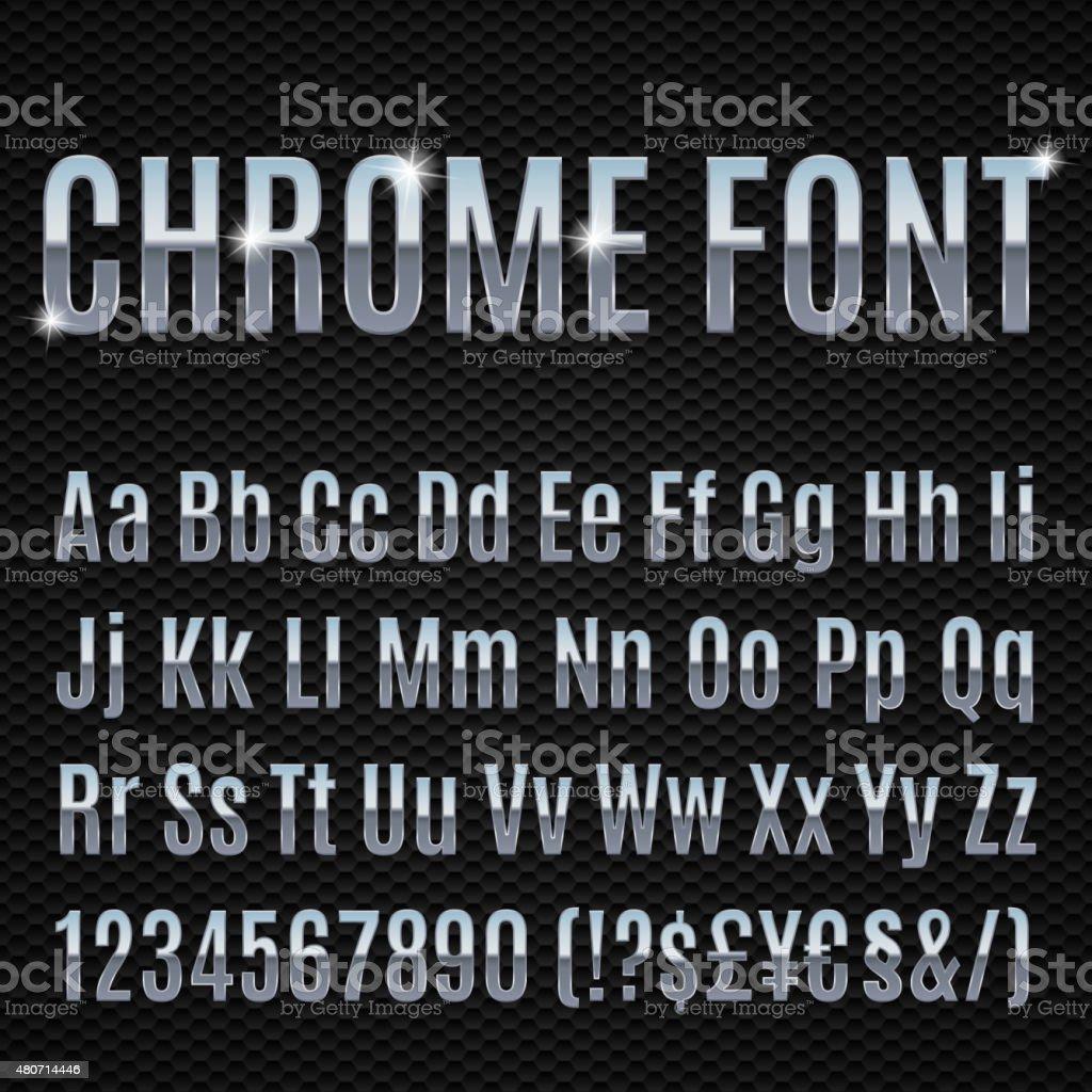 Chrome font vector art illustration