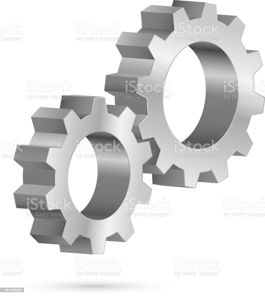 Chrome gearwheel vector art illustration