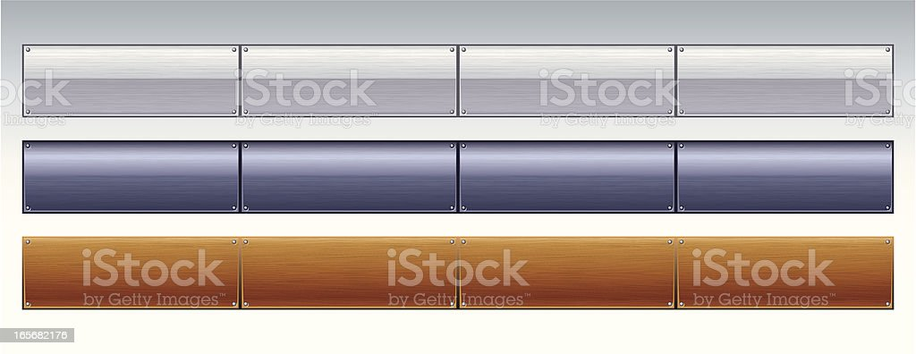 Chrome, Metallic and Wood Tabs royalty-free stock vector art