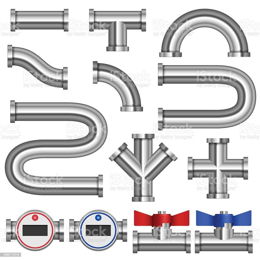 Chrome pipes vector art illustration