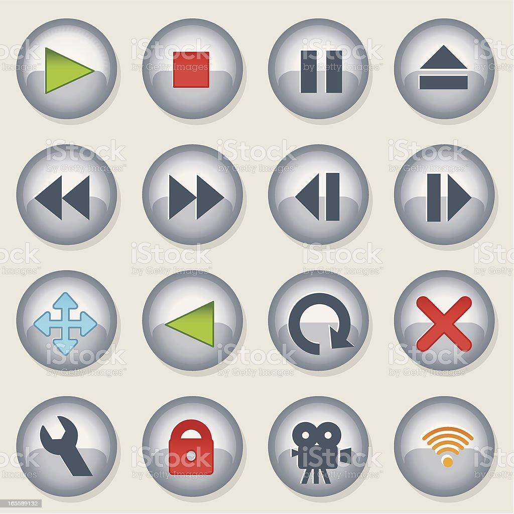 Chrome Play Bullets vector art illustration