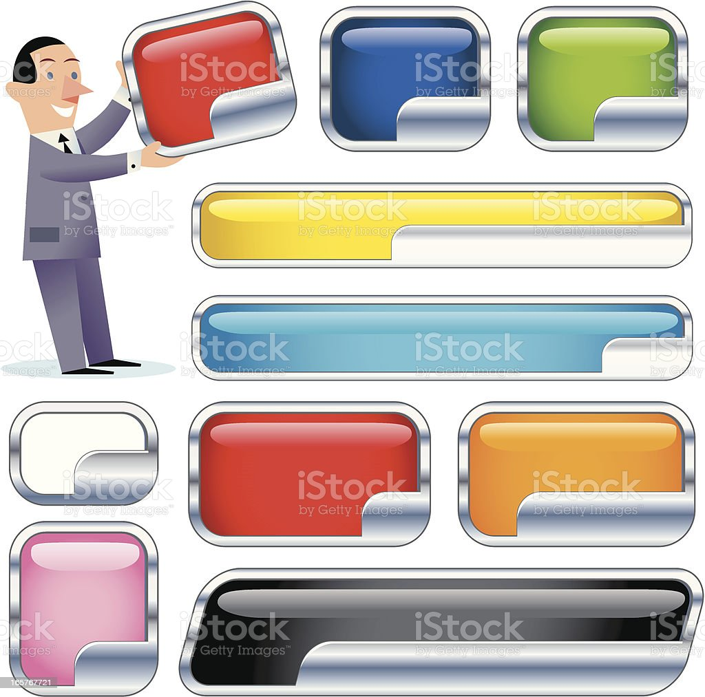 Chrome right insert panels vector art illustration