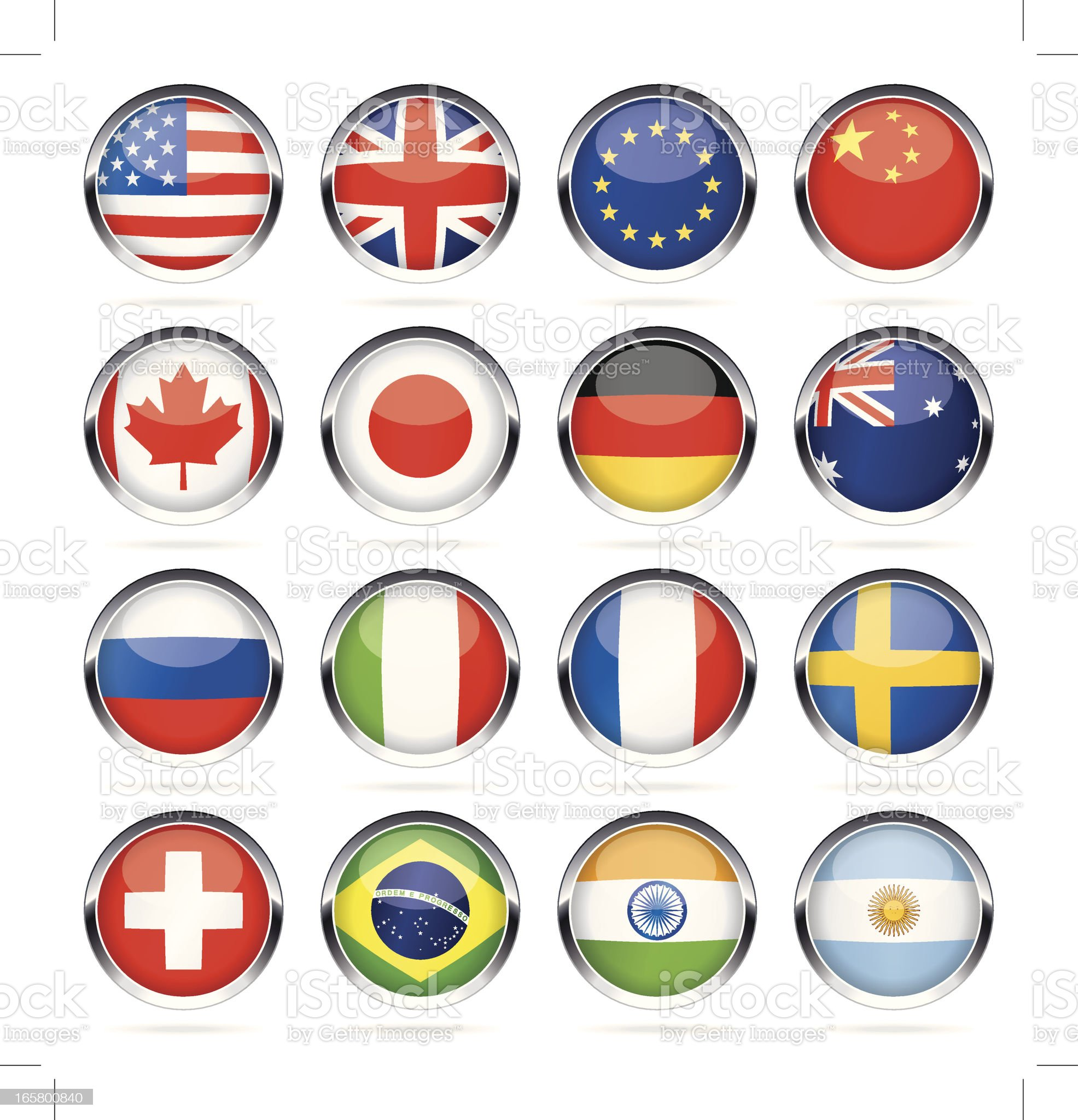 Chrome round most popular flag icons royalty-free stock vector art