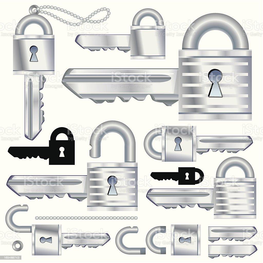 Chrome SecuraKey vector art illustration