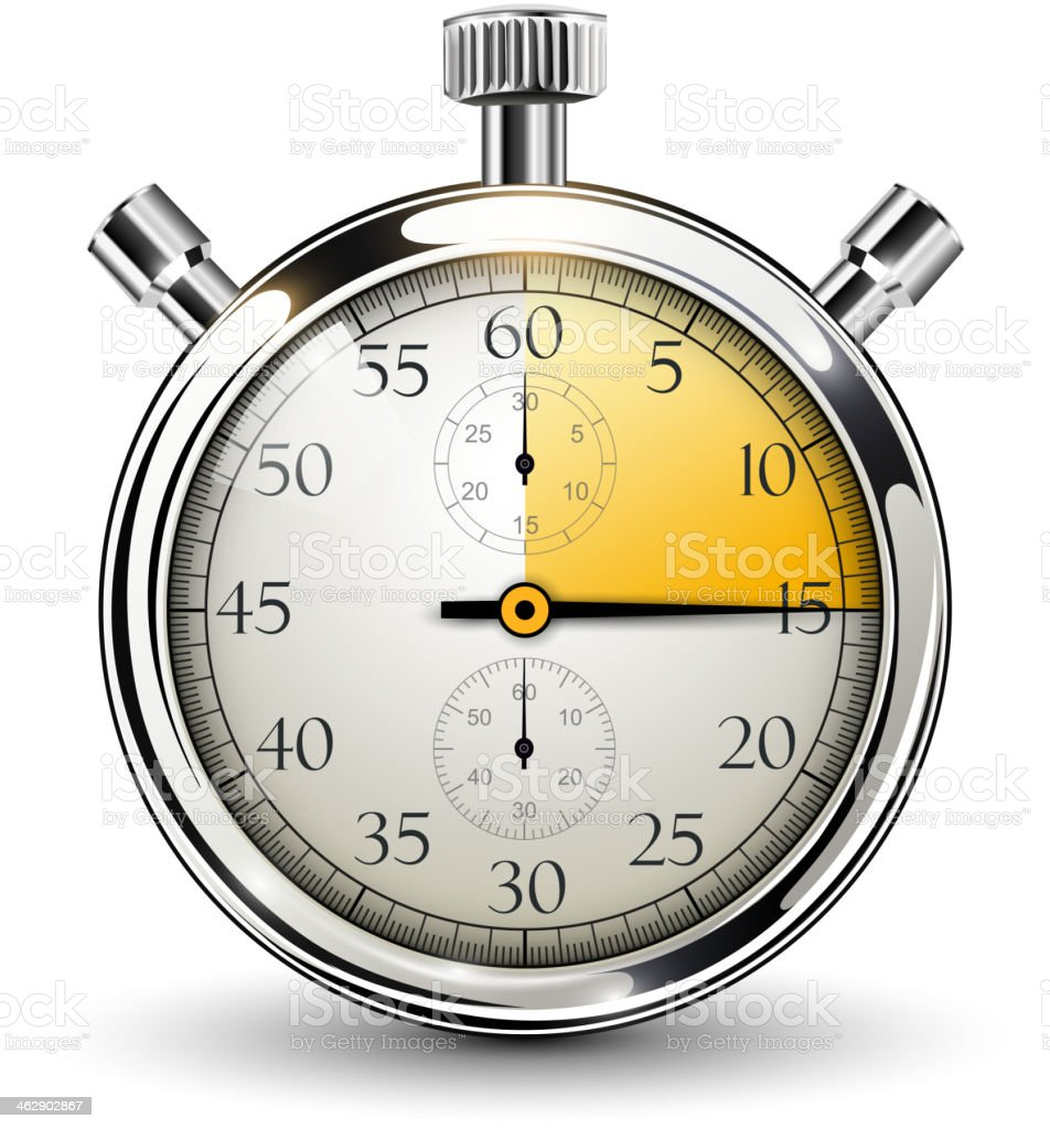Chrome stopwatch with a quarter face highlighted in gold vector art illustration