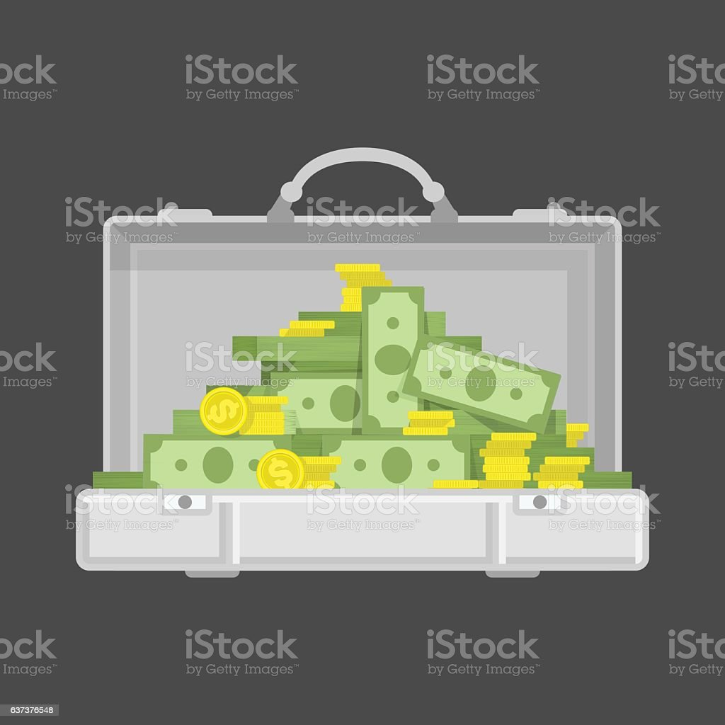 Chrome suitcase with money. vector art illustration