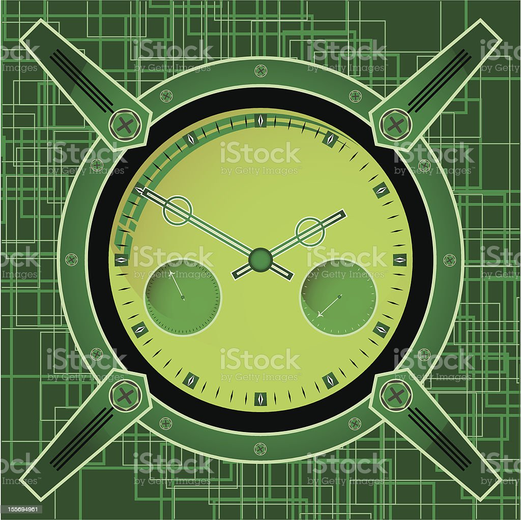 Chronometer in the style of steampunk on an abstract background royalty-free stock vector art