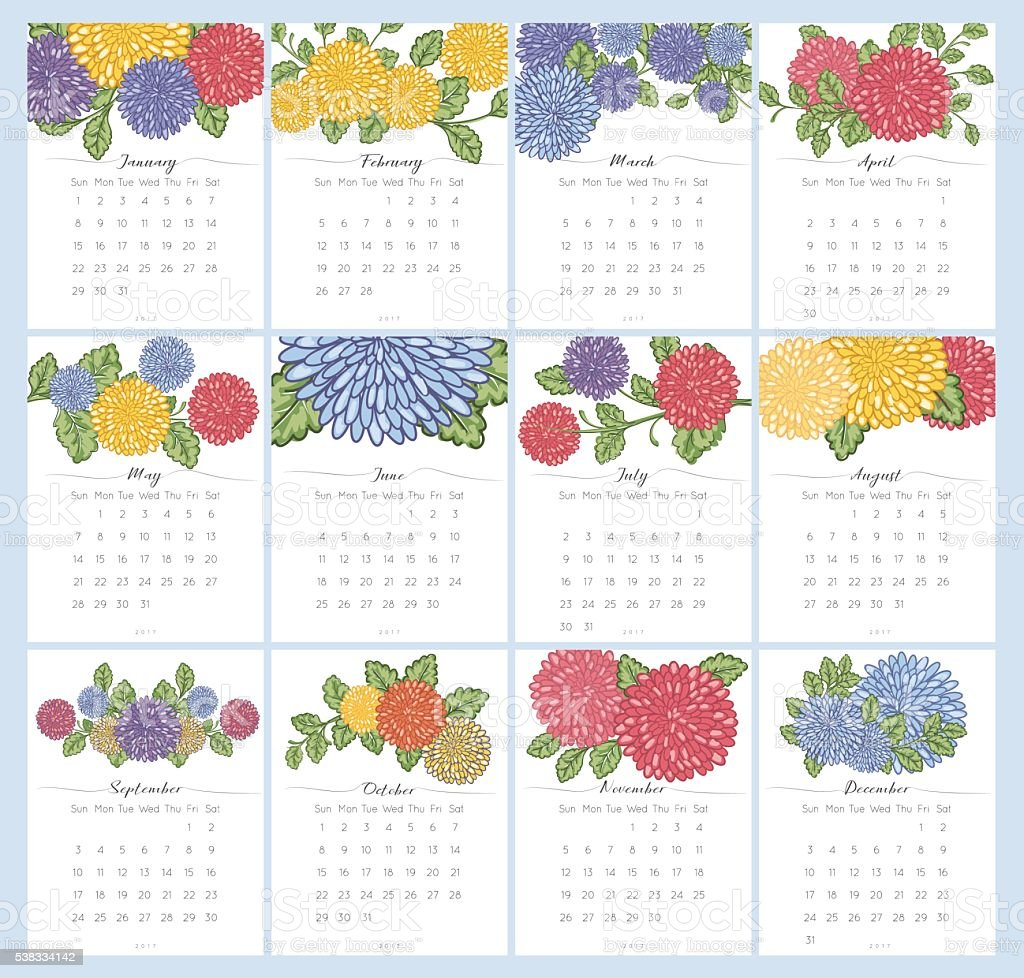2017 Chrysanthemum Floral Desk Pad Calendar Set vector art illustration