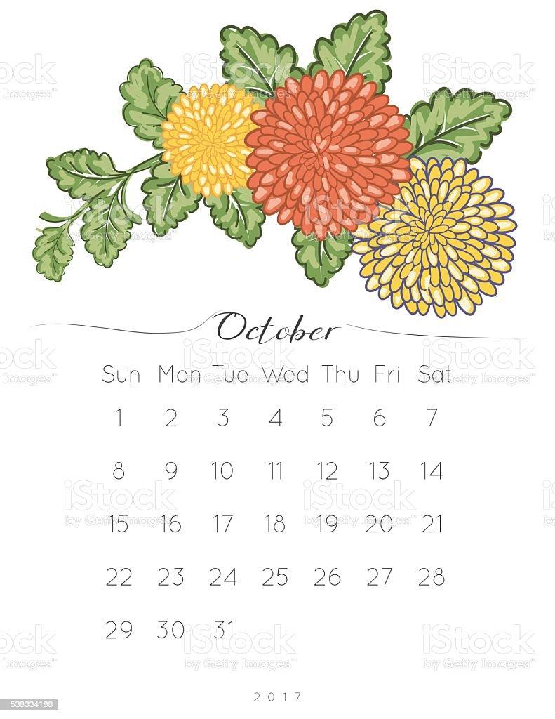 2017 Chrysanthemum Floral Desk Pad Calendar vector art illustration