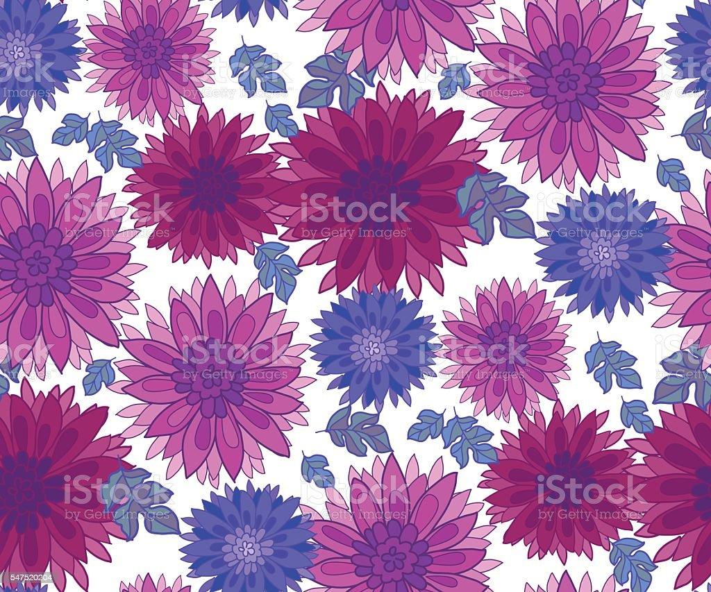 chrysanthemum flower tile design element. vector art illustration
