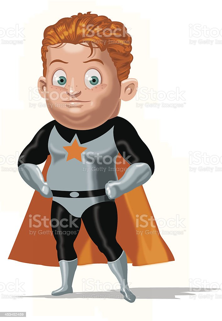 Chubby super hero vector art illustration