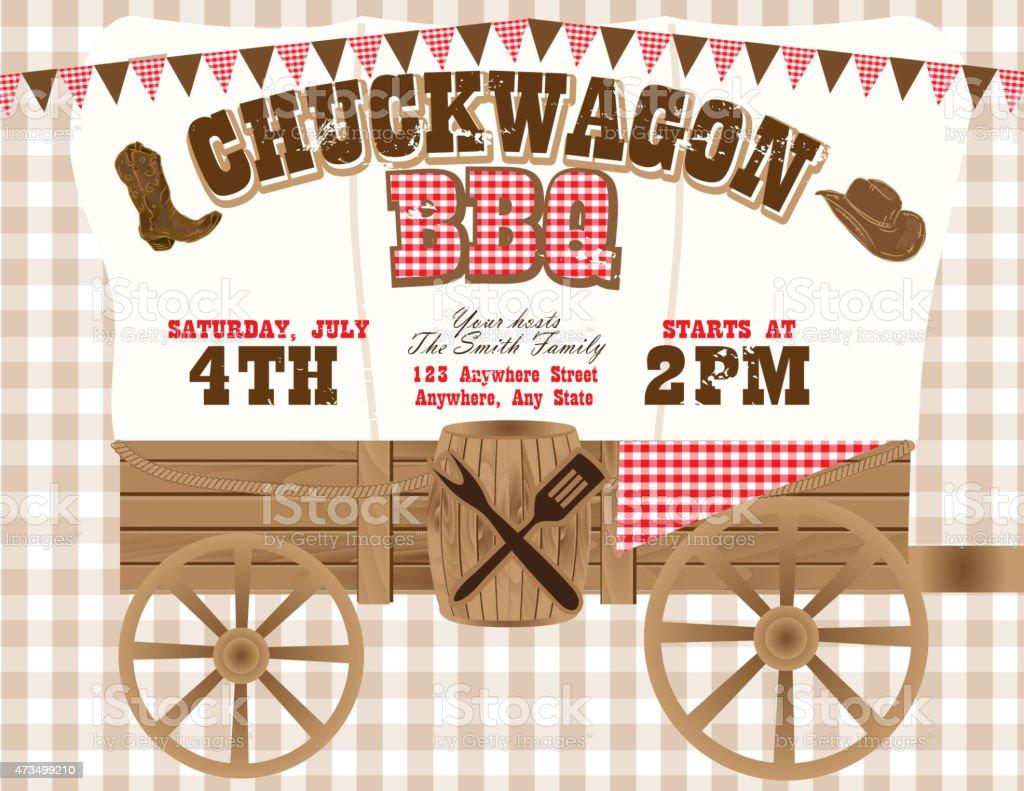 Chuckwagon BBQ country and western invitation design template vector art illustration