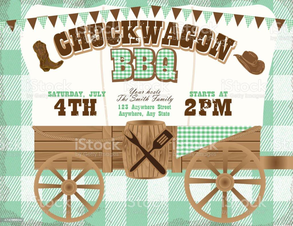 Chuckwagon BBQ green country and western invitation design template vector art illustration