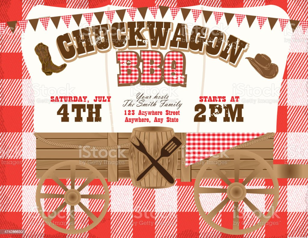 Chuckwagon BBQ red country and western invitation design template vector art illustration