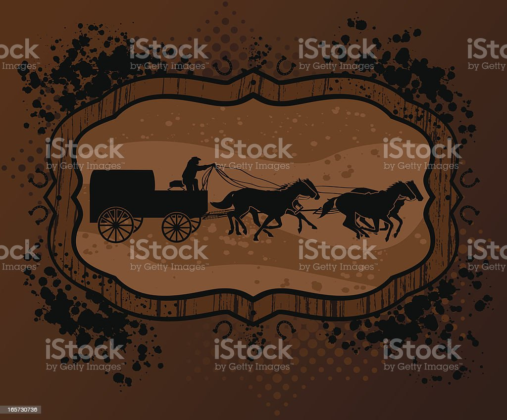 Chuckwagon Racing on grunge background vector art illustration