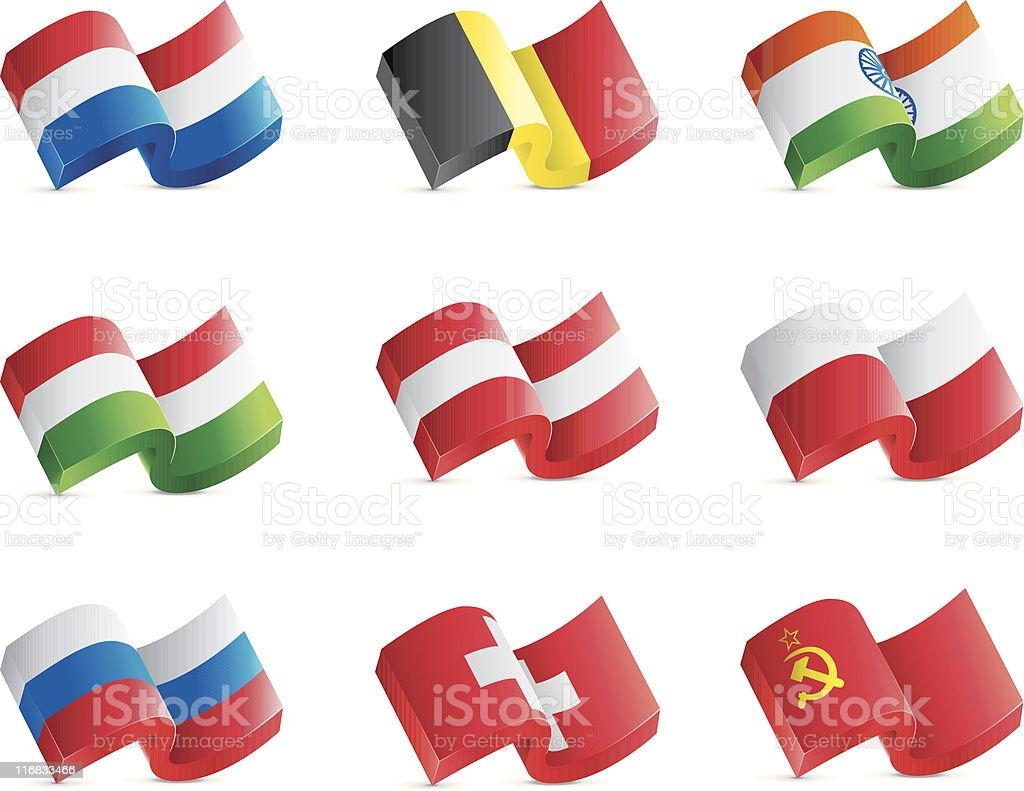 Chunky 3D Flag Icons royalty-free stock vector art
