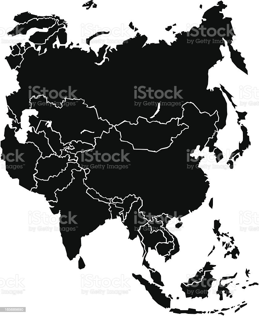 Chunky Asia Map royalty-free stock vector art