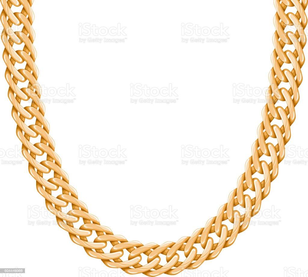 Chunky chain golden metallic necklace or bracelet vector art illustration