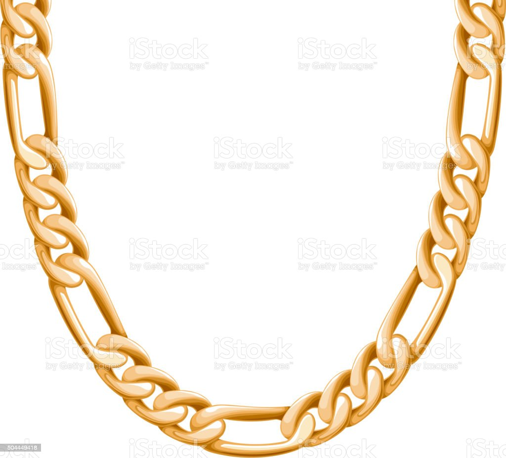 Chunky chain golden metallic necklace or bracelet vector art illustration