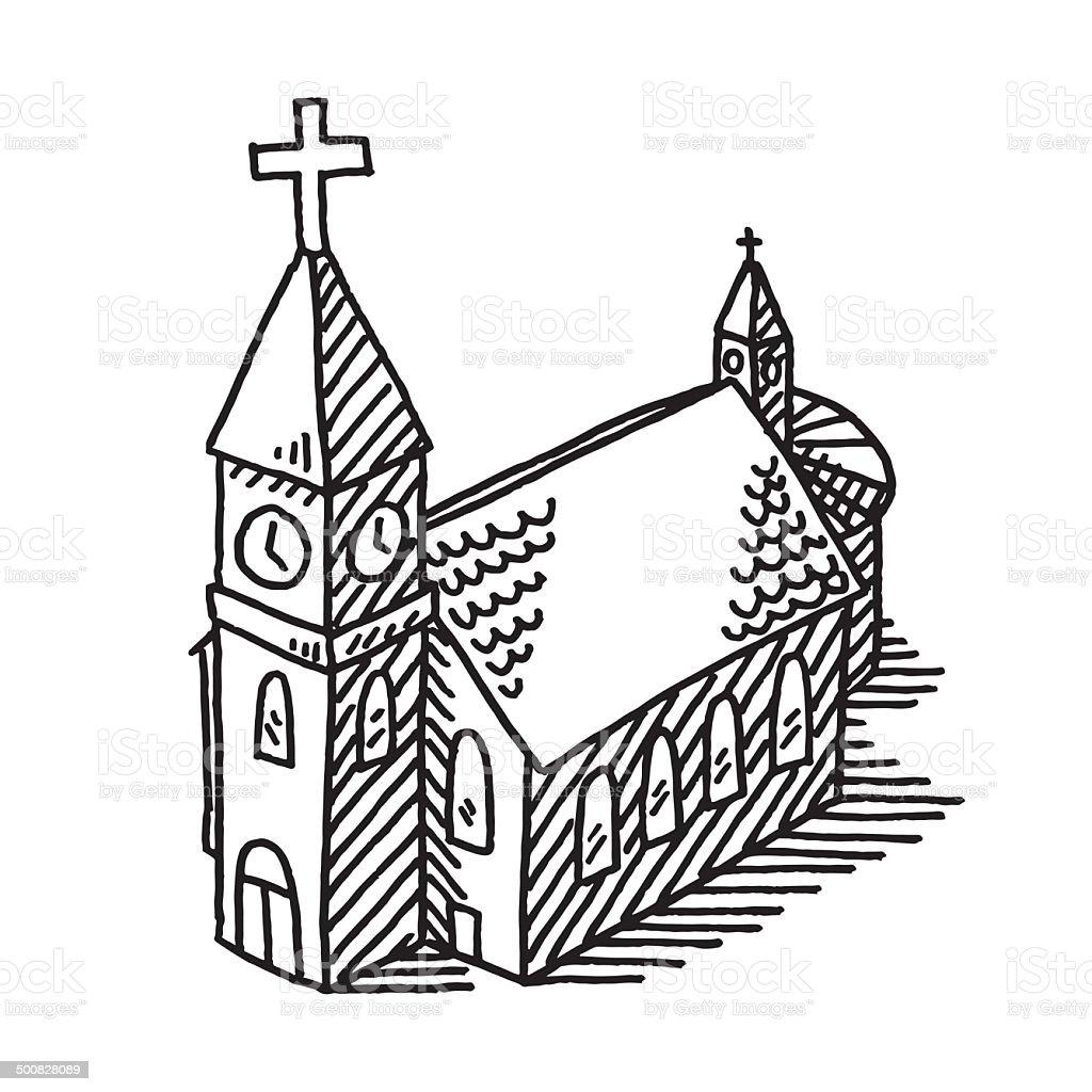 Church Building Drawing vector art illustration