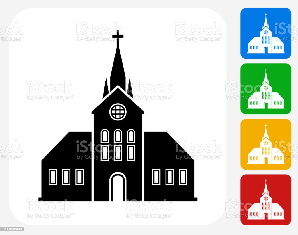 Church Building Icon Flat Graphic Design vector art illustration