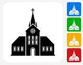 Church Building Icon Flat Graphic Design
