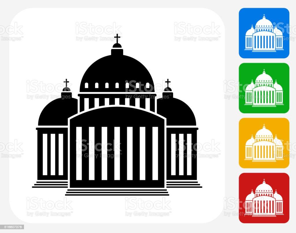 Church Building Icon Flat Graphic Design vector art illustration