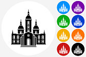 Church Building Icon on Flat Color Circle Buttons