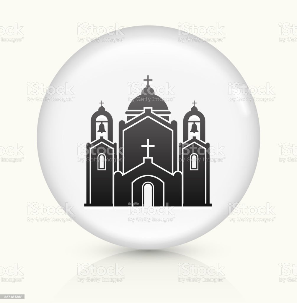 Church Building icon on white round vector button vector art illustration