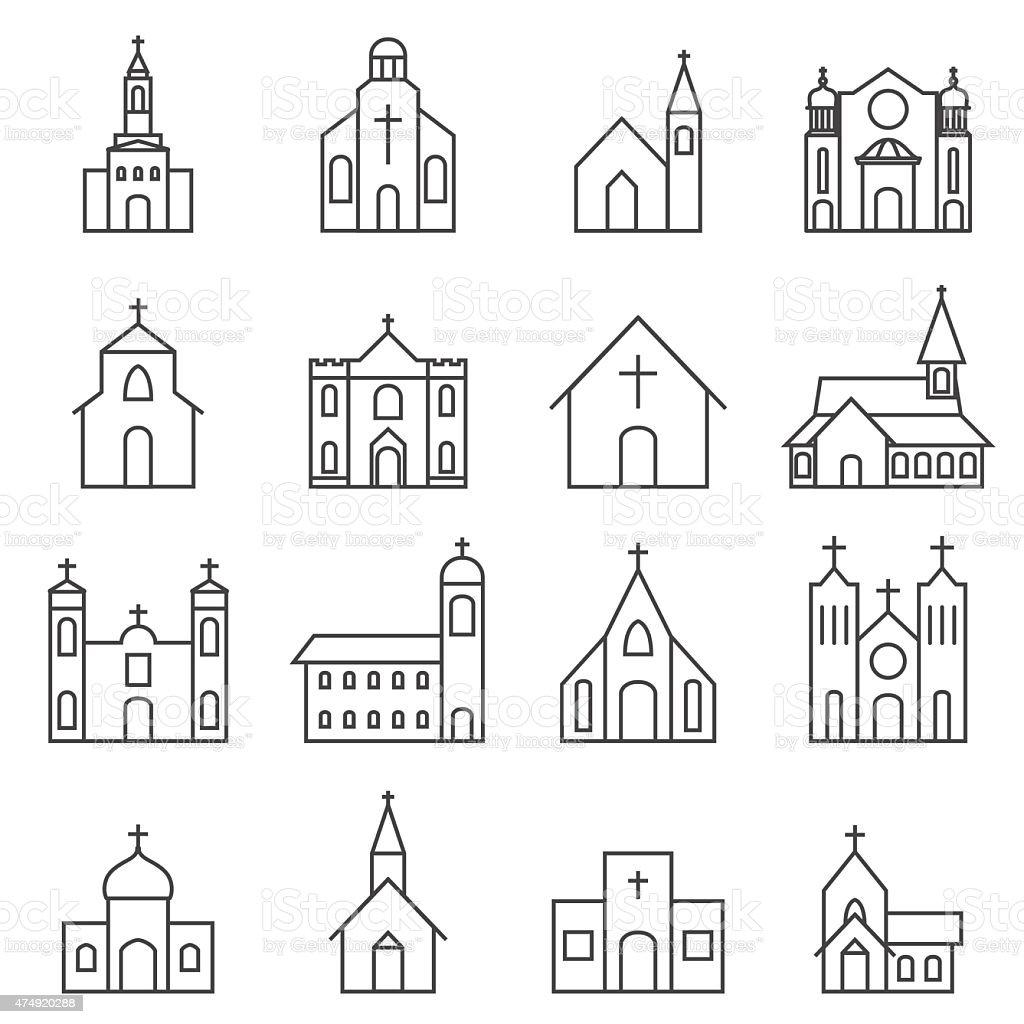 church building icon vector set vector art illustration
