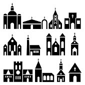 Church building icons. Vector basilica and chapel silhouettes