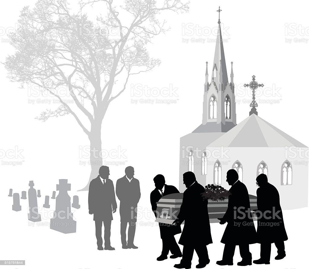 Church Cemetary vector art illustration