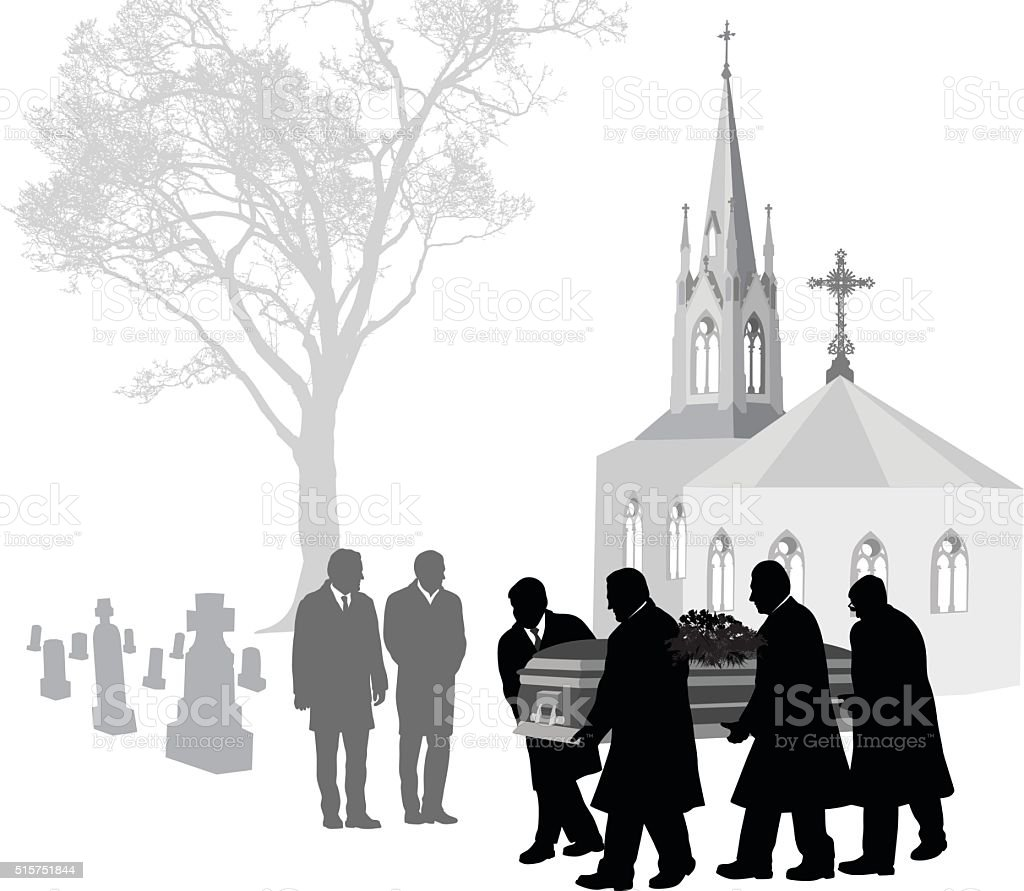 Church Cemetary vector art illustration