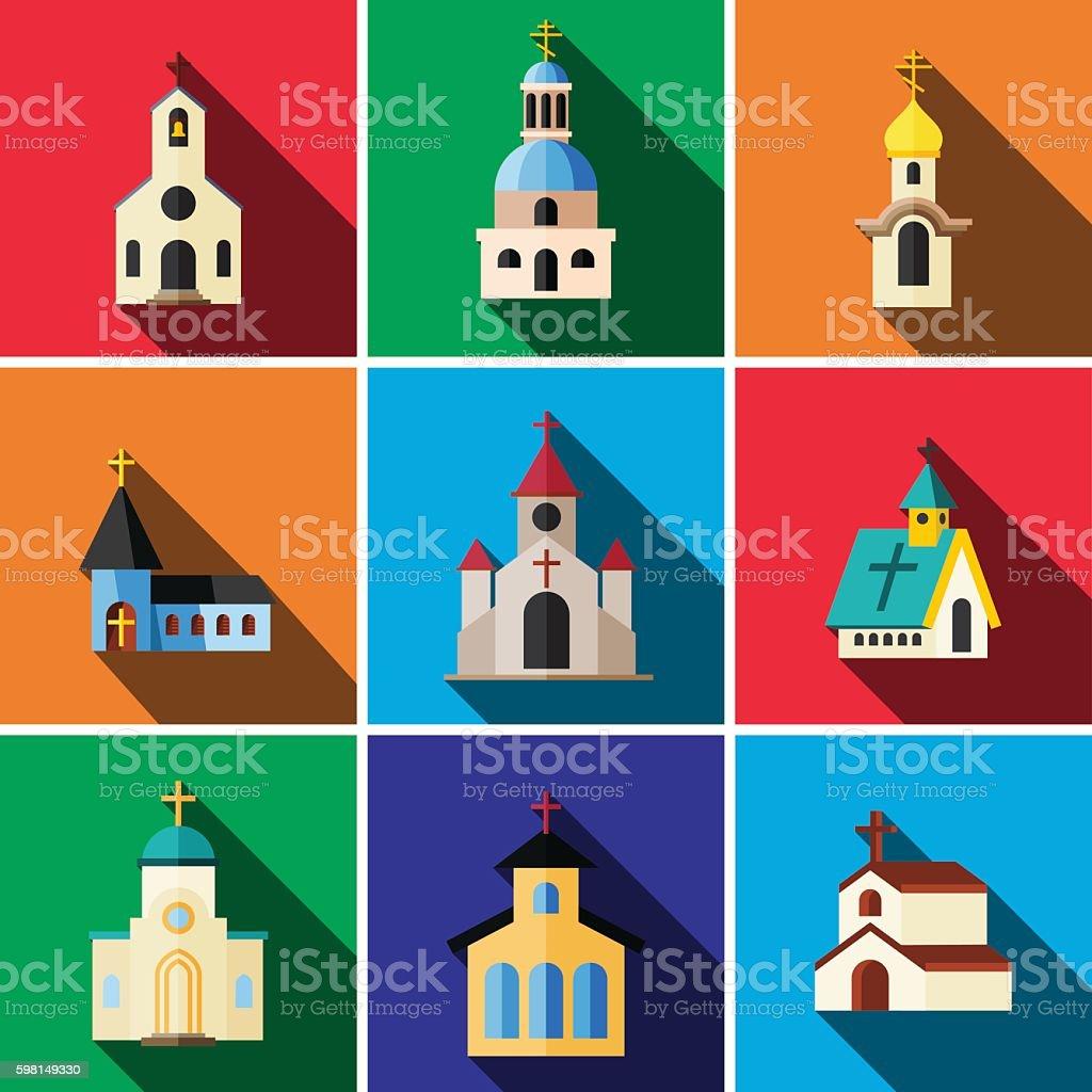 Church flat icon set vector art illustration