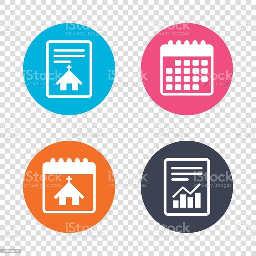 Report document, calendar icons. Church icon. Christian religion...